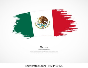 Happy independence day of Mexico with national flag on grunge texture