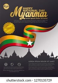 Happy Independence Day Myanmar. Design Template background with Myanmar Flag for greeting cards, posters, banner, leaflets, brochure and cover book. Vector illustration.