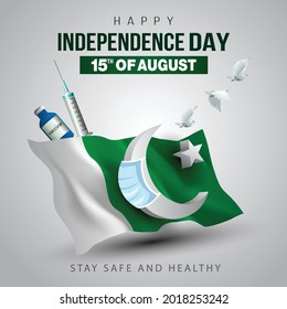 happy independence day Pakistan. 3d flag with flying pigeon. vector illustration design. covid-19, coronavirus concept