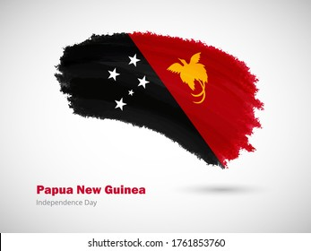 Happy independence day of Papua New Guinea with artistic watercolor country flag background. Grunge brush flag illustration