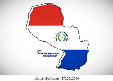 Happy independence day of Paraguay. Creative national country map with Paraguay flag vector illustration