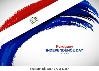 Happy independence day of Paraguay. Watercolor brush stroke flag background. Classic national country flag with Abstract watercolor grunge brush flag