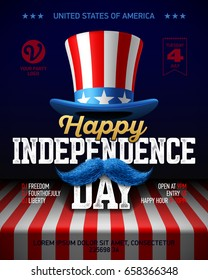 Happy Independence Day party poster template. Fourth of July USA Independence Day celebration. Vector illustration.