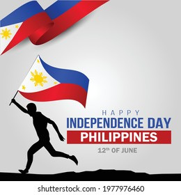 Happy Independence Day Philippine Vector Template Design Illustration. silhouette man running with flag