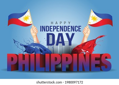 Happy Independence Day Philippine Vector Template Design Illustration. man hand 3d letter with flag