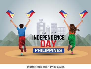 happy independence day Philippines 12th june. a boy and girl running with Philippine flag. vector illustration design.