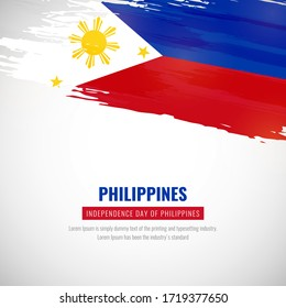 Happy independence day of Philippines with brush style watercolor country flag background