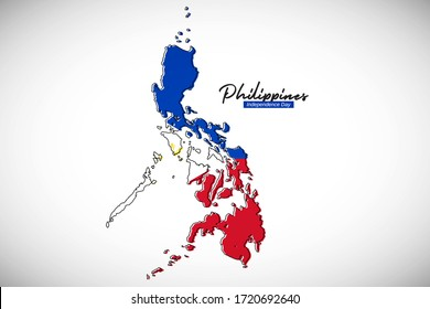 Happy independence day of Philippines. Elegant national country map with Philippines flag vector illustration