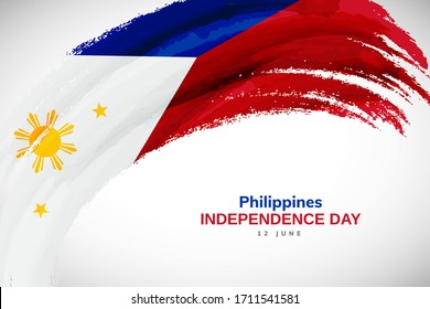 Happy independence day of Philippines. Watercolor brush stroke flag background. Creative national country flag with Abstract watercolor grunge brush flag
