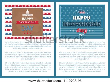 Happy independence day posters set washington stock vector royalty happy independence day posters set washington capitol and national flag greeting cards design world famous m4hsunfo