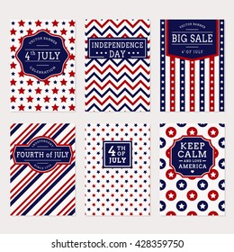 Happy Independence Day! Set of American banners for 4th of July theme. Collection of templates in traditional red, blue and white colors. Vector greeting cards, sale label and holiday banners.