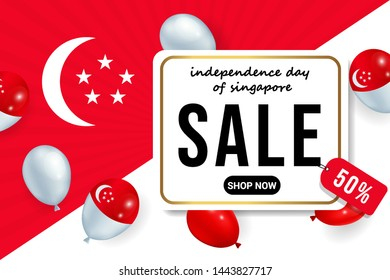 happy independence day of singapore sale banner background vector