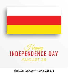 happy independence day of south ossetia banner template with text and paper cut national flag on a white background. vector illustration for greeting cards, posters, flyers, invitations, brochures