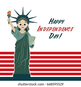 Happy independence Day. The Statue of Liberty. Vector image for postcards, design and your business