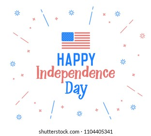 Happy Independence Day text with united states of america flag colors. Vector retro background label for Independence day of USA in july 4. Cheerful design, funny hand drawn letters and firework