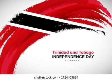 Happy independence day of Trinidad and Tobago. Watercolor brush stroke flag background. Classic national country flag with Abstract watercolor grunge brush flag