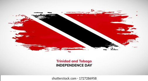 Happy independence day of Trinidad and Tobago. Brush flag of Trinidad and Tobago vector illustration. Modern watercolor concept of national brush flag background