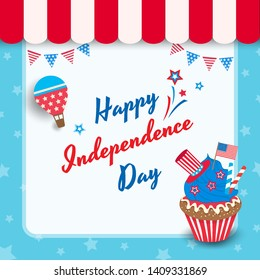 Happy Independence day United states of America, 4th Jul cupcake. Design to icon with cafe frame decorated with balloons.