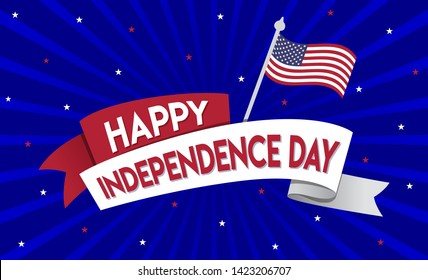 Happy Independence Day of United states of America USA, 4th July, Concept, Template, Banner, Logo Design, Icon, Poster, Label, Web Header, Mnemonic with Blue Celebration Rays  Background - Vector