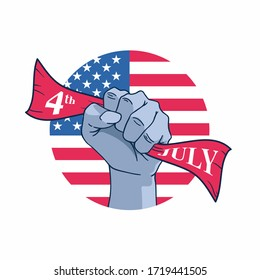 Happy Independence Day of United States of America 4th of July with hand vector illustration background