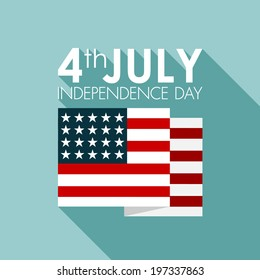 Happy independence day United States of America, 4th of July card with flat design