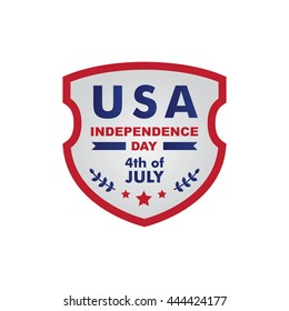 Happy independence day United States of America, 4th of July. Flat frame/ badge
