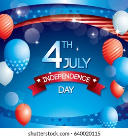 Happy Independence day United states of America design,Memorial day decorated with balloon bokeh background, 4th July