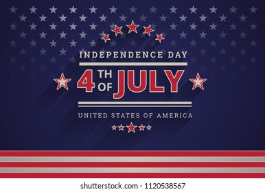 Happy Independence Day USA 4th of July dark blue background - 4th of July USA independence day celebration vector illustration - American design