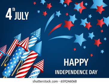 Happy  Independence Day of the USA. 4th of July  poster  with  pyrotechnic  firework  rockets. Vector  template  for sale banner,  flyer or party invitation  design.