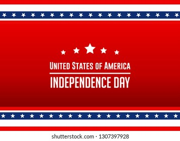 Happy Independence Day. USA Independence Day Banner or Postcard or Poster or Flyer Template.
