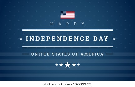Happy Independence Day USA blue background with the United States flag. 4th of July USA independence day celebration vector illustration