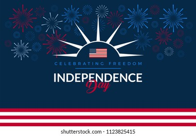 Happy Independence Day USA blue background with the United States flag, 4th of July fireworks - vector illustration for July Fourth banner, greeting card