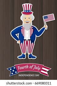 Happy Independence Day USA. Fourth of July.  Patriotic attributes, party invitation. Vector illustration EPS10.