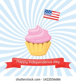 Happy Independence day USA. Vector greeting card for 4th of July with cupcake and flag USA