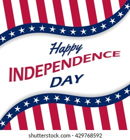 Happy Independence Day vector background with white stars, stripes and ribbon. USA 4th of July poster.