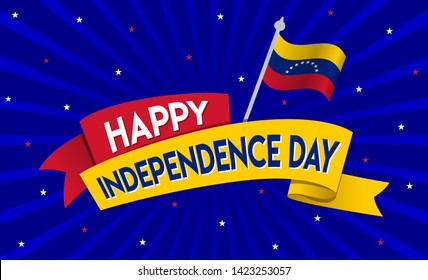 Happy Independence Day of venezuela, 5th July, Concept, Template, Banner, Logo Design, Icon, Poster, Label, Web Header, Mnemonic with Blue Celebration Rays  Background - Vector