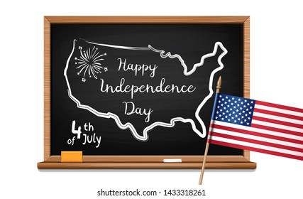 Happy Independence Day. Words US oath of allegiance, USA map and flag. Chalk inscription on blackboard. 4th of July. Fourth of July. Vector illustration