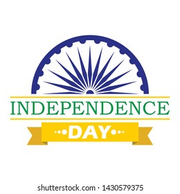 Happy Independence India. 15 August. For logo, banner, background design. With Ashoka Wheel logo. Vector ilustration
