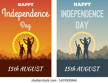 Happy Indian family celebrate Independence Day India. Silhouettes of people on background of the Ashok Chakra Dharmachakra Wheel of Law mountain landscape and sun. Concept of a greeting card, poster.