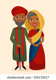 Happy indian middle aged couple in national dress isolated vector illustration. Smiling grandfather, grandmother characters. Happy old people portrait, elderly family standing together, senior couple.