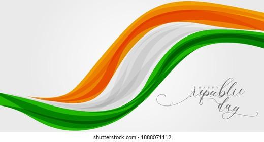 Happy Indian Republic day celebration poster or banner background. Vector illustration.