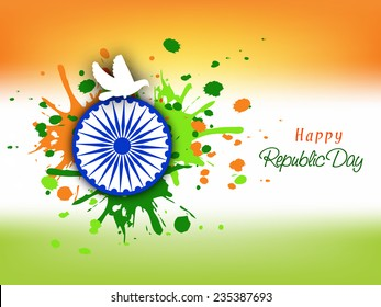 Happy Indian Republic Day celebration concept with Ashoka Wheel, pigeon and splash on national flag color background.