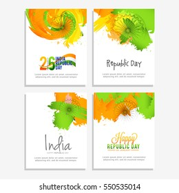 Happy Indian Republic day celebration poster or banner background set.