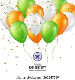 Happy Indian Republic day celebration poster or banner background, card. Three color balloons with confetti. Vector illustration.