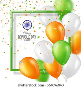 Happy Indian Republic day celebration poster or banner background, card. Three color balloons with confetti. Vector illustration. EPS 10.