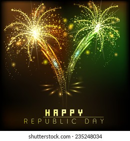 Happy Indian Republic Day celebrations poster or banner design decorated with sparkling fireworks in saffron and green color.