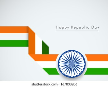 Happy Indian Republic Day concept with stylish stripe in national flag color with ashoka wheel on grey background.