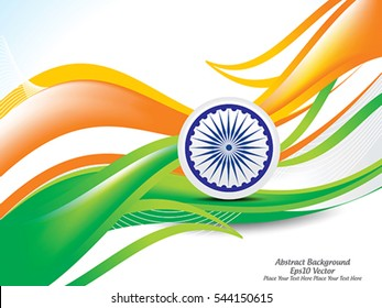 happy Indian republic day wave background with ashok chakra vector illustration