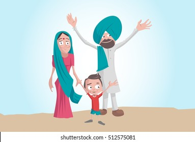 Happy Indian village farmer family. Flat graphic style. Cool vector illustration.