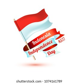 Happy Indonesia independence day. Aug 17. Holiday card with flag